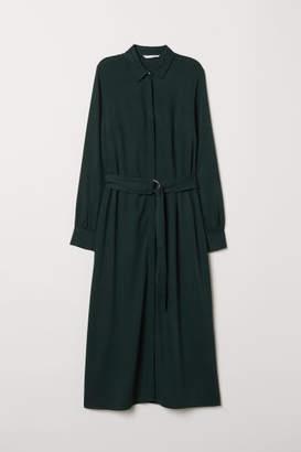 H&M Calf-length Shirt Dress - Green