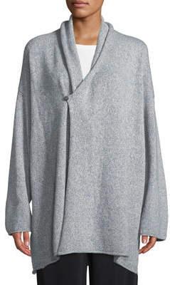 eskandar Shawl-Collar One-Button Cashmere-Knit Slim Cardigan