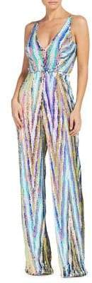 Dress the Population Charlie Brushstroke Sequin V-Neck Bodysuit