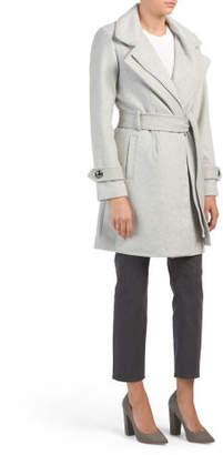 Faux Leather Trim Wool Coat