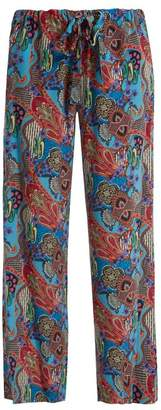 Etro Abstract Floral Print Silk Trousers - Womens - Blue Multi