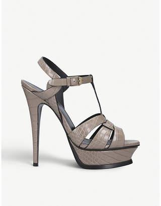 Saint Laurent Tribute croc-embossed leather heeled sandals
