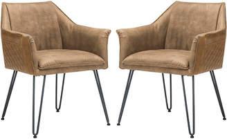 Safavieh Set Of 2 Esme Mid Century Modern Leather Dining Chair
