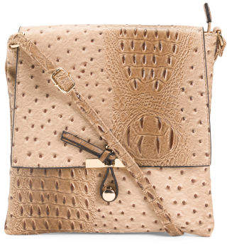 Embossed Faux Ostrich Crossbody