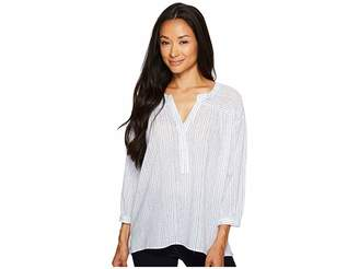 Vince Camuto Cotton Tencel Drizzle Stripe Ruched Henley Women's Long Sleeve Pullover