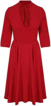 Zalinah White Alice Silky Crepe Swing Skater Midi Dress In Red With Neck Bow