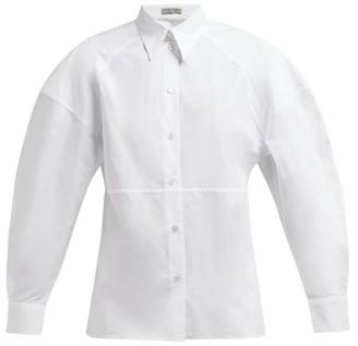 Bottega Veneta Detachable Collar Cotton Poplin Shirt - Womens - White