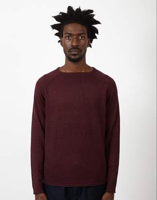 The Idle Man Raglan Crew Neck Knitted Jumper Burgundy