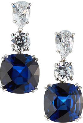 FANTASIA Mixed-Cut Simulated Sapphire & Clear CZ Drop Earrings