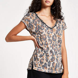 River Island Womens Brown leopard print diamante trim tank top