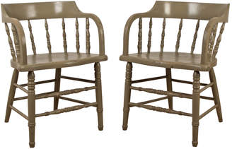 Rejuvenation Pair of Mint Green Low-Back Windsor Chairs