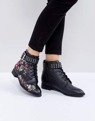 Miss Selfridge Embroidered Flat Ankle Boot