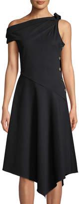 Derek Lam 10 Crosby One-Shoulder Asymmetric Midi Dress