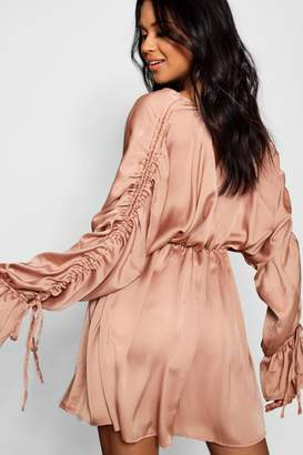boohoo Boutique Satin Ruched Sleeve Skater Dress