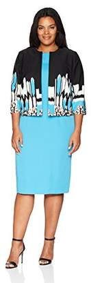 Maya Brooke Plus Size Women's Geo Print Jacket Dress Two Piece Set