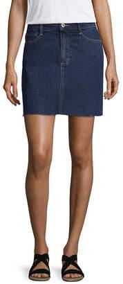 Arizona Womens Mid Rise Midi Denim Skirt-Juniors