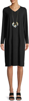 Eileen Fisher Long-Sleeve Viscose Jersey Dress, Petite