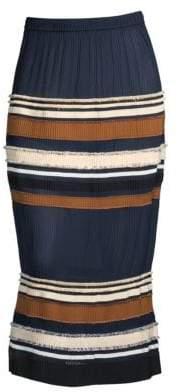 Derek Lam Women's Ribbed Stripe Midi Skirt - Navy - Size 38 (2)