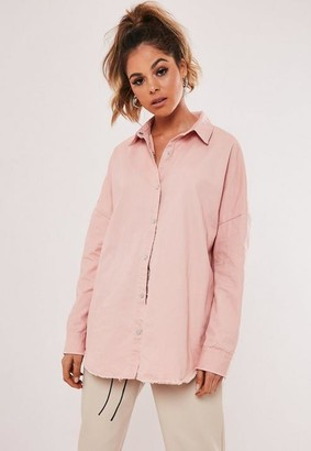 Missguided Pink Oversized Washed Denim Shirt