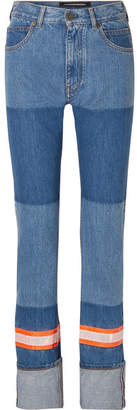 Calvin Klein Appliqued Two-tone High-rise Straight-leg Jeans - Blue