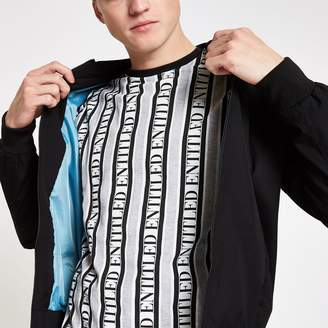 Grey 'Entitled' stripe slim fit T-shirt