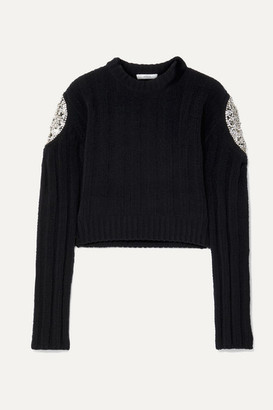 Area Cropped Crystal-embellished Ribbed Chenille Sweater - Black