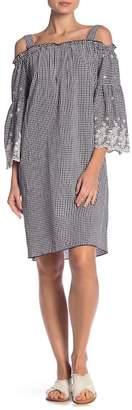 Jones New York Embroidered Knit Cold Shoulder Dress