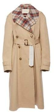 Land of Distraction Road Trip Dan Raw Edge Cotton Trench Coat