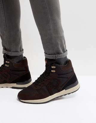 Armani Jeans Logo Lace Up Boots in Brown/Black