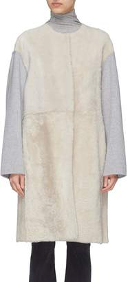 Yves Salomon Reversible melton sleeve lambskin shearling coat