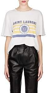 Saint Laurent Women's Collegiate-Print Cotton Oversized T-Shirt-White