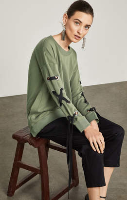 BCBGMAXAZRIA Lace-Up-Sleeve Terry Sweatshirt