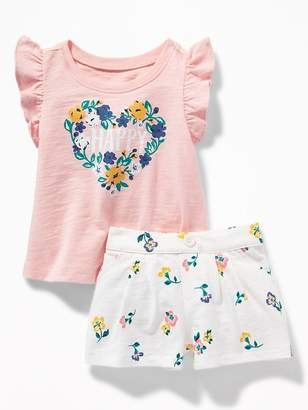 Old Navy Slub-Knit Graphic Tee & Printed Shorts Set for Baby