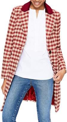 Boden Eastbourne Check Wool Blend Coat