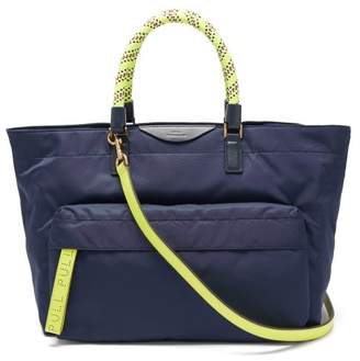 Anya Hindmarch Neon Bungee Handle Nylon Tote Bag - Womens - Navy Multi