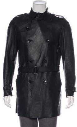Valentino Leather Double-Breasted Coat