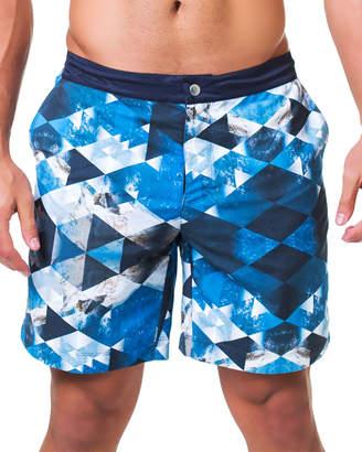 Maceoo Lion Rock Geometric-Print Swim Shorts