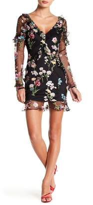 Wow Couture Floral Mesh Overlay Dress