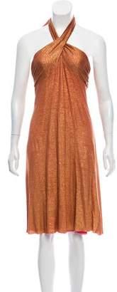 Diane von Furstenberg Metallic Halter Midi Dress