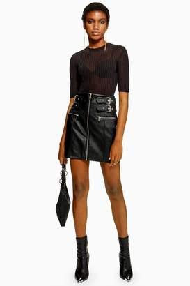 Topshop TALL Leather Look Buckle Mini Skirt