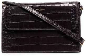 Saint Laurent bordeaux red catherine crocodile-effect leather shoulder bag