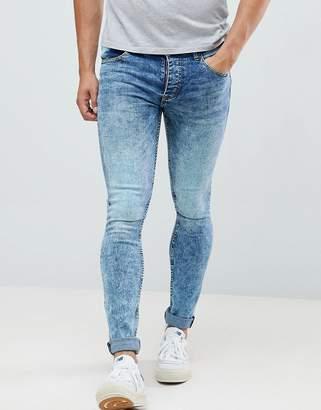 Saints Row Super Skinny Jeans in Acid Wash Blue