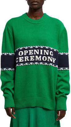 Opening Ceremony Logo Stripe Cotton Blend Sweater