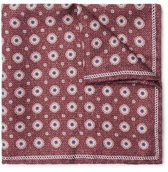 Brunello Cucinelli Printed Silk Pocket Square - Burgundy