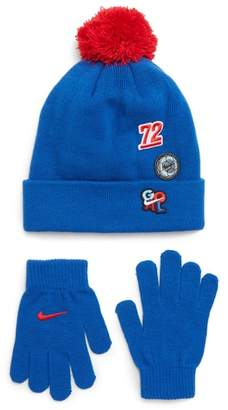 Nike Patch Pom Beanie & Gloves Set