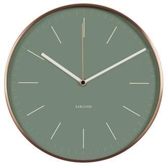 Karlsson Minimal Jungle Green Copper Case Wall Clock