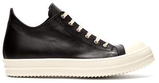 Rick Owens Geobasket Low Top Leather Trainers - Mens - Black White