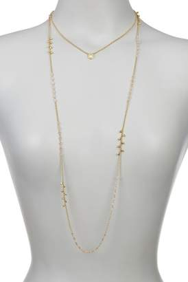 Cole Haan Double Layer Beaded Logo Tag Necklace