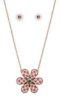 Betsey Johnson Picnic Gingham Flower Goldtone & Crystal Pendant Necklace & Stud Earrings Set