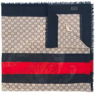 Gucci GG Supreme tiger scarf
